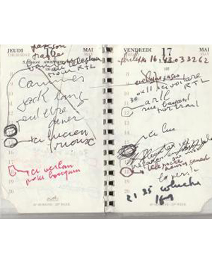 Agenda manuscrit de Gainsbourg